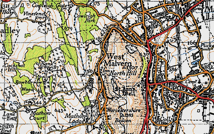 Old map of Worcestershire Beacon in 1947