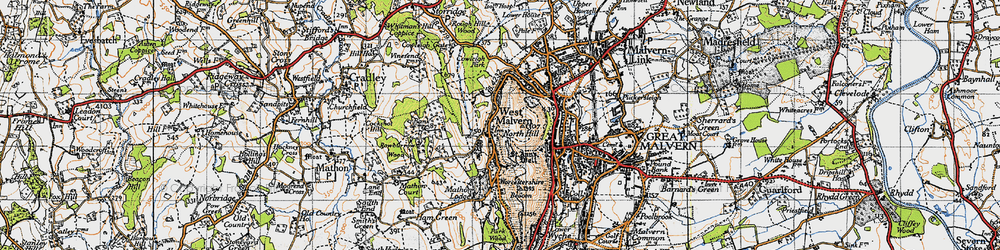 Old map of West Malvern in 1947