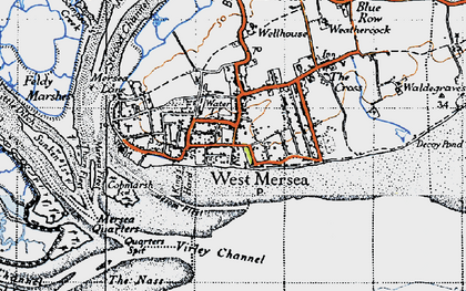 Old map of West Mersea in 1945
