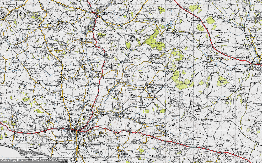Old Map of Historic Map covering Leigh Gate in 1945
