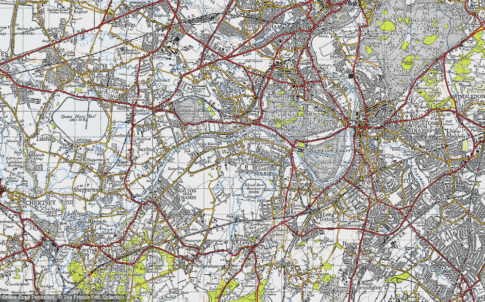 Old Map of West Molesey, 1945 in 1945