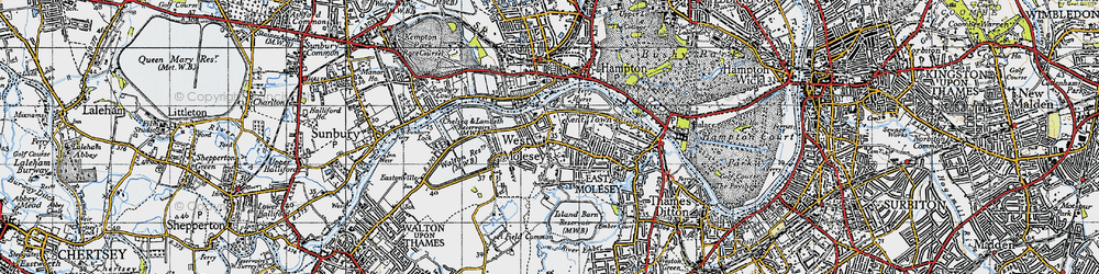 Old map of West Molesey in 1945