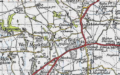 Old map of West Monkton in 1946