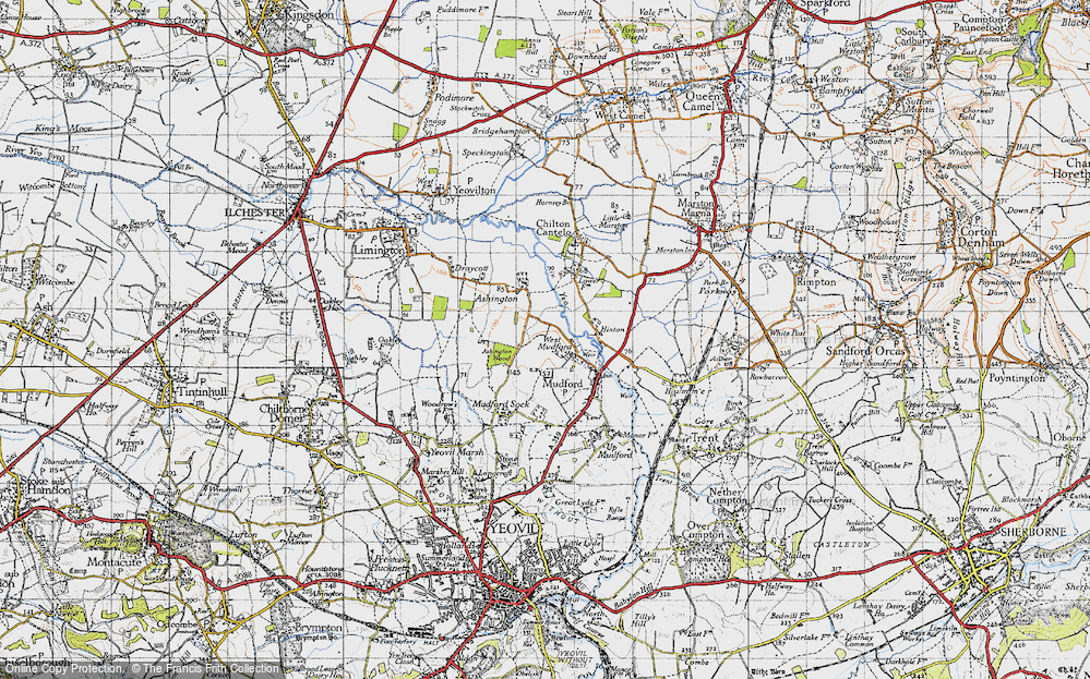 Old Map of Historic Map covering Ashington Wood in 1945