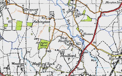 Old map of West Mudford in 1945