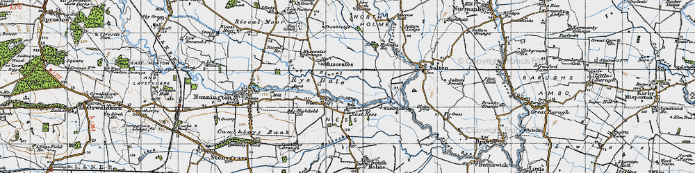 Old map of West Ness in 1947