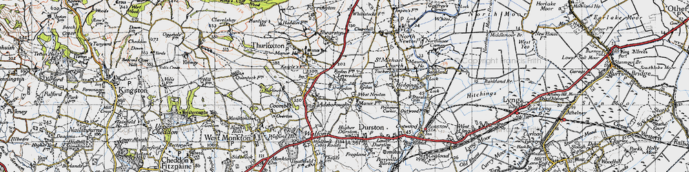 Old map of West Newton in 1946