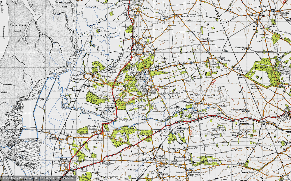 Old Map of Historic Map covering Woodcock Wood in 1946