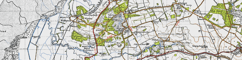 Old map of Woodcock Wood in 1946