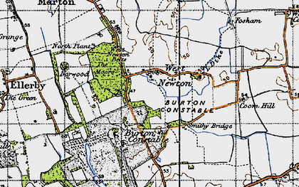 Old map of West Newton Belts in 1947