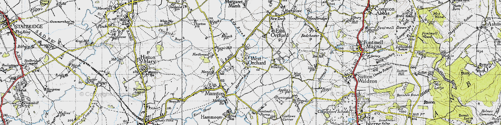 Old map of West Orchard in 1945