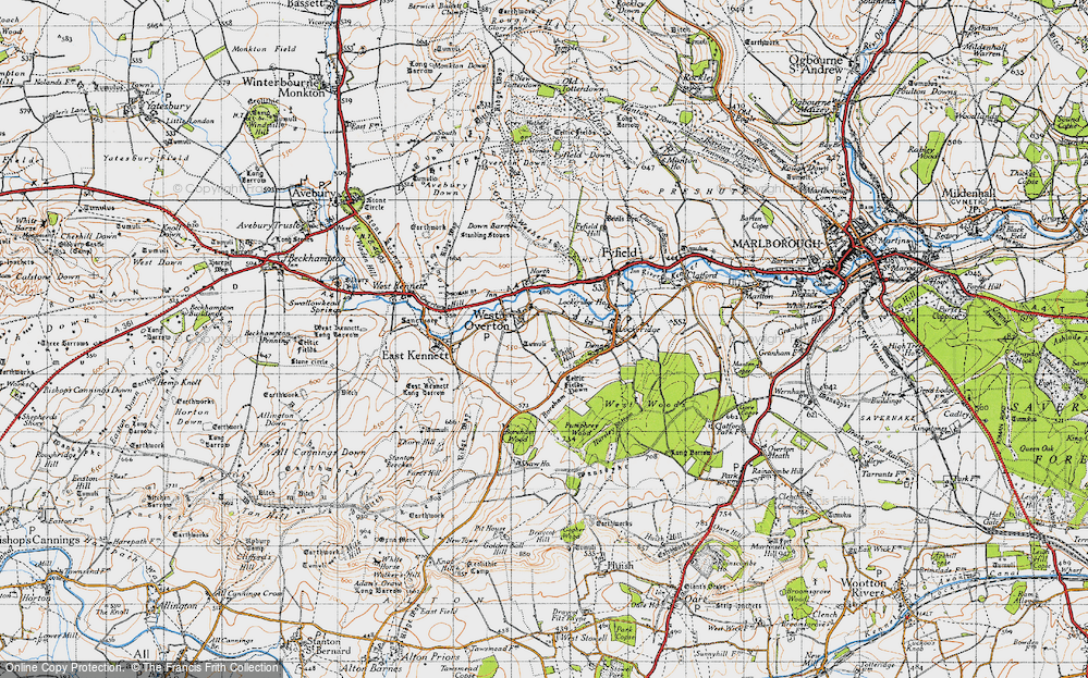 Old Map of West Overton, 1940 in 1940