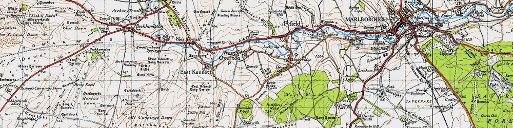 Old map of West Overton in 1940