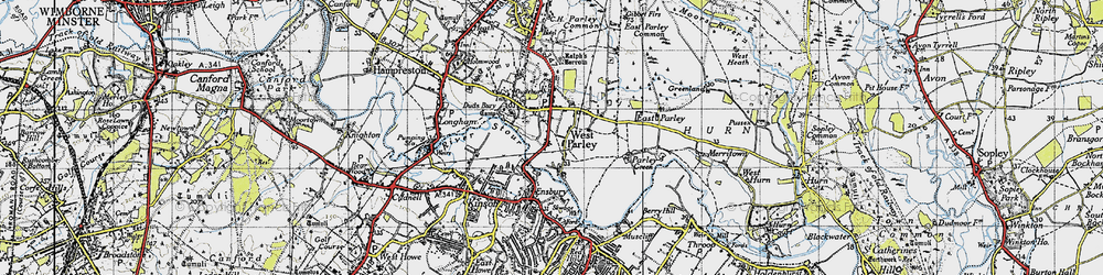 Old map of West Parley in 1940