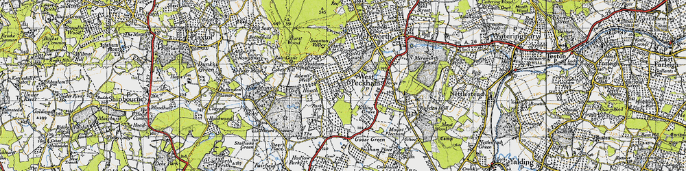 Old map of West Peckham in 1946