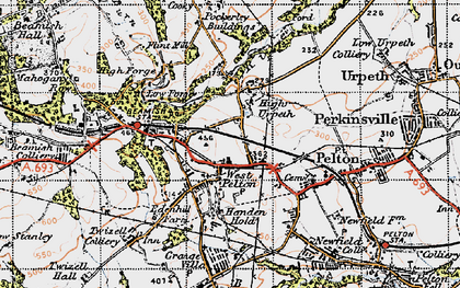 Old map of West Pelton in 1947