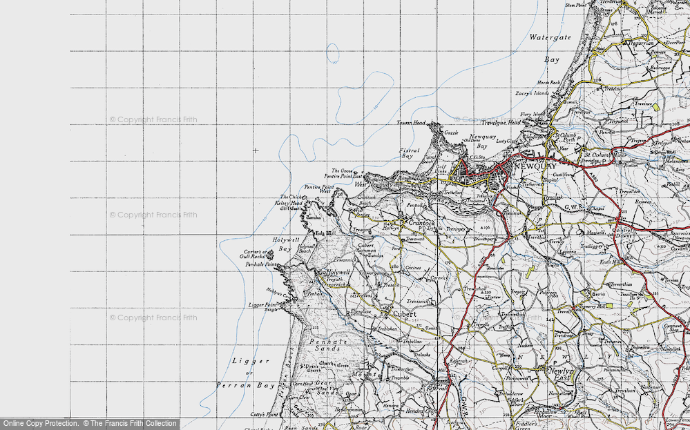 Old Map of West Pentire, 1946 in 1946