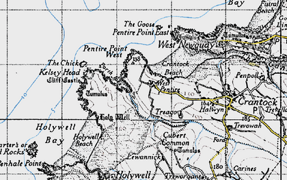 Old map of West Pentire in 1946