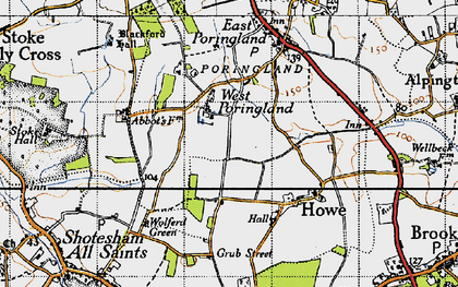 Old map of West Poringland in 1946