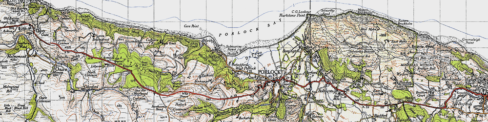 Old map of West Porlock in 1946