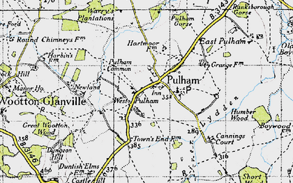 Old map of West Pulham in 1945