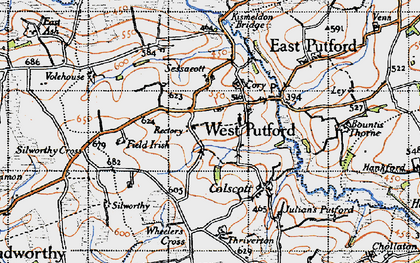 Old map of West Putford in 1946