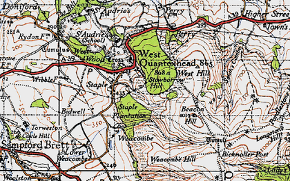 Old map of West Quantoxhead in 1946