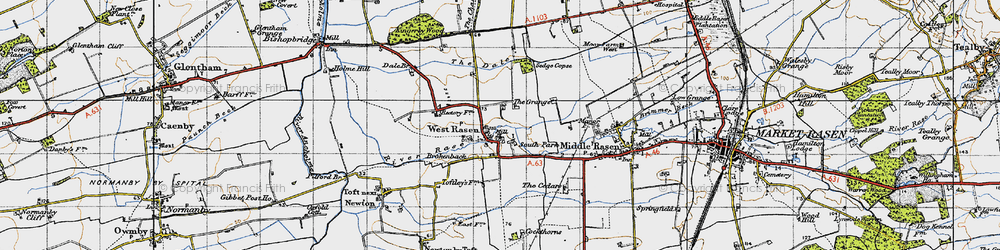 Old map of West Rasen in 1947