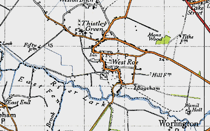 Old map of West Row in 1946