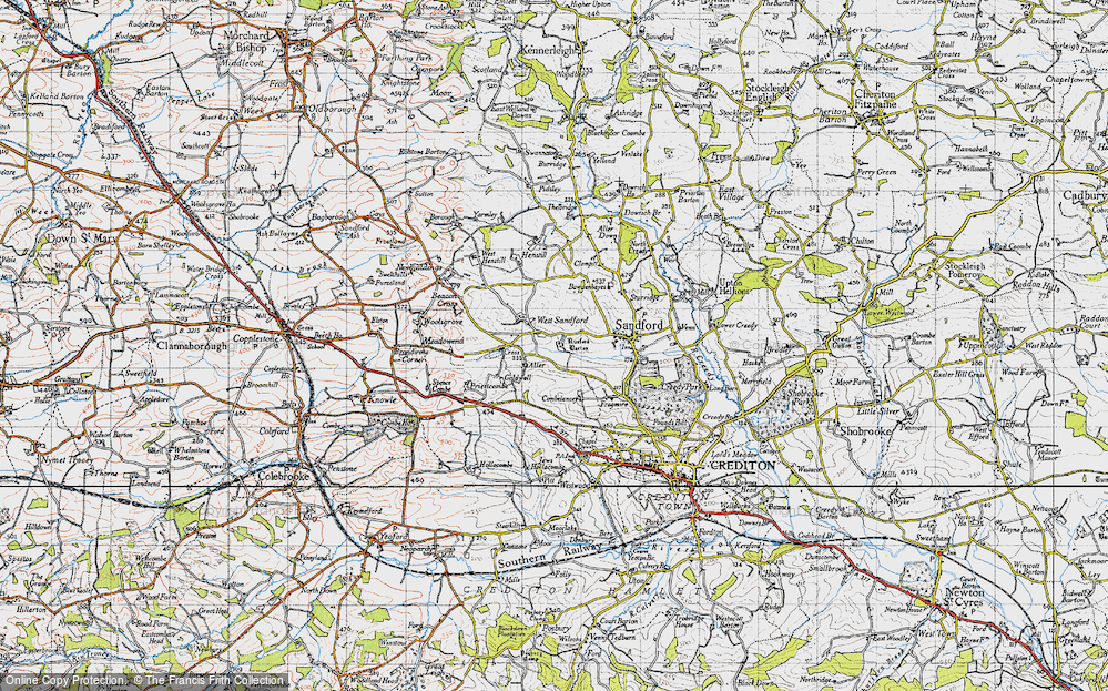 Old Map of Historic Map covering Aller Barton in 1946