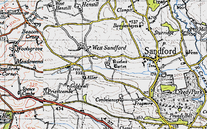 Old map of Aller Barton in 1946