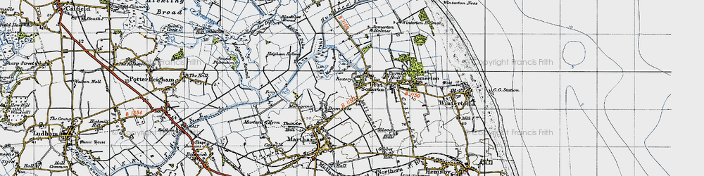 Old map of West Somerton in 1945