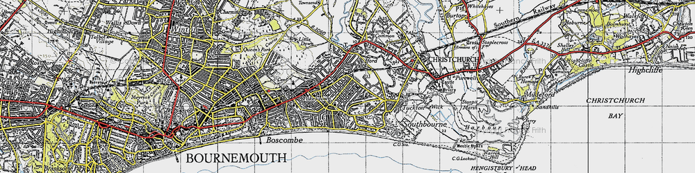 Old map of West Southbourne in 1940