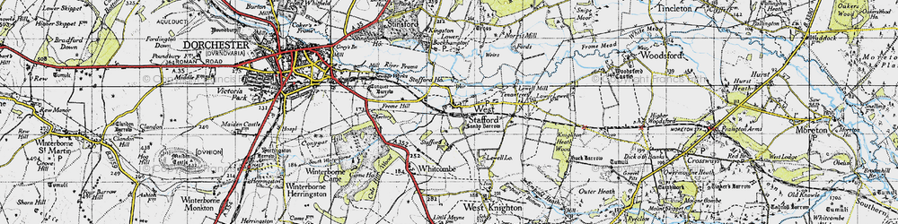 Old map of West Stafford in 1945