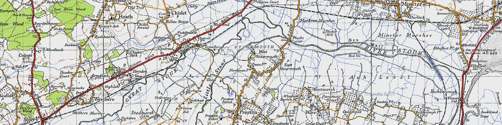 Old map of West Stourmouth in 1947