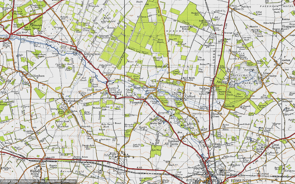Old Map of Historic Map covering Ash Carr in 1946