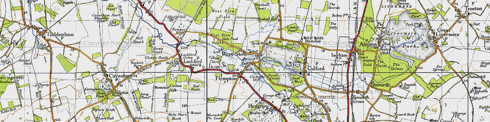 Old map of West Stow Heath in 1946