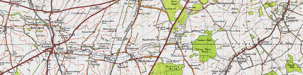 Old map of West Stratton in 1945