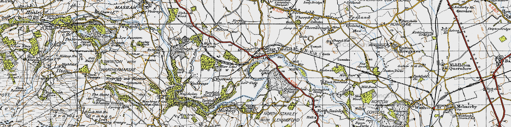 Old map of West Tanfield in 1947