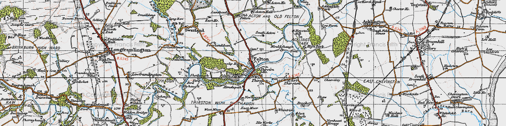 Old map of West Thirston in 1947