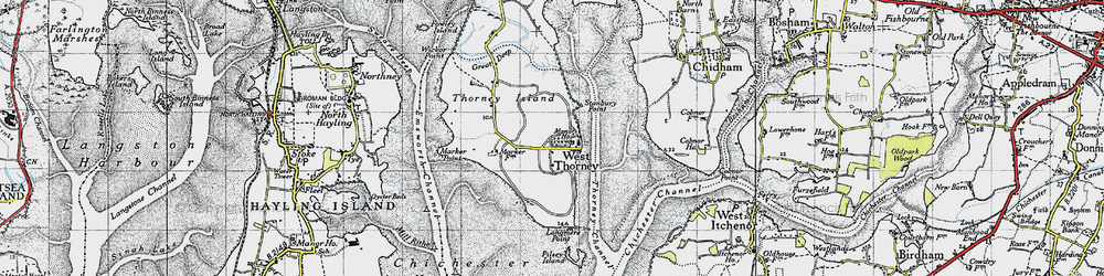 Old map of West Thorney in 1945