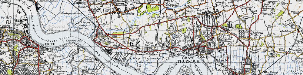 Old map of West Thurrock in 1946
