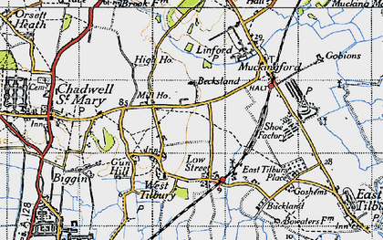 Old map of West Tilbury in 1946