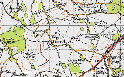 Old map of West Tisted in 1945