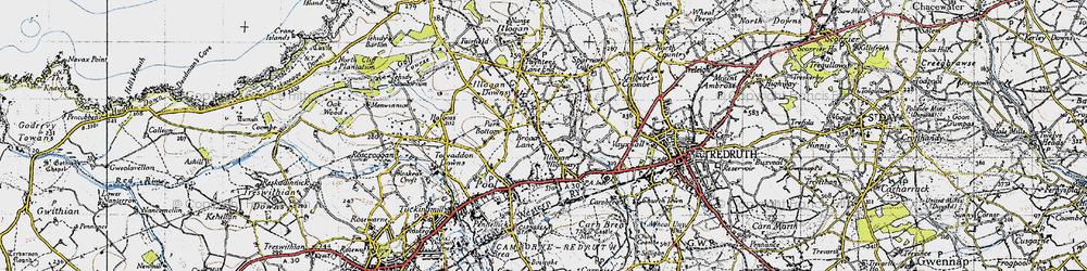 Old map of West Tolgus in 1946