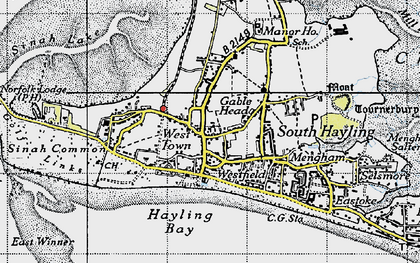 Old map of West Town in 1945