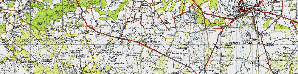 Old map of West Wellow in 1940