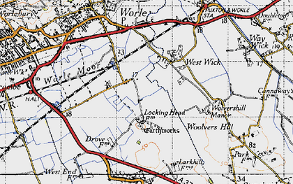 Old map of West Wick in 1946