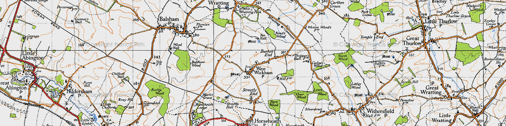 Old map of West Wickham in 1946
