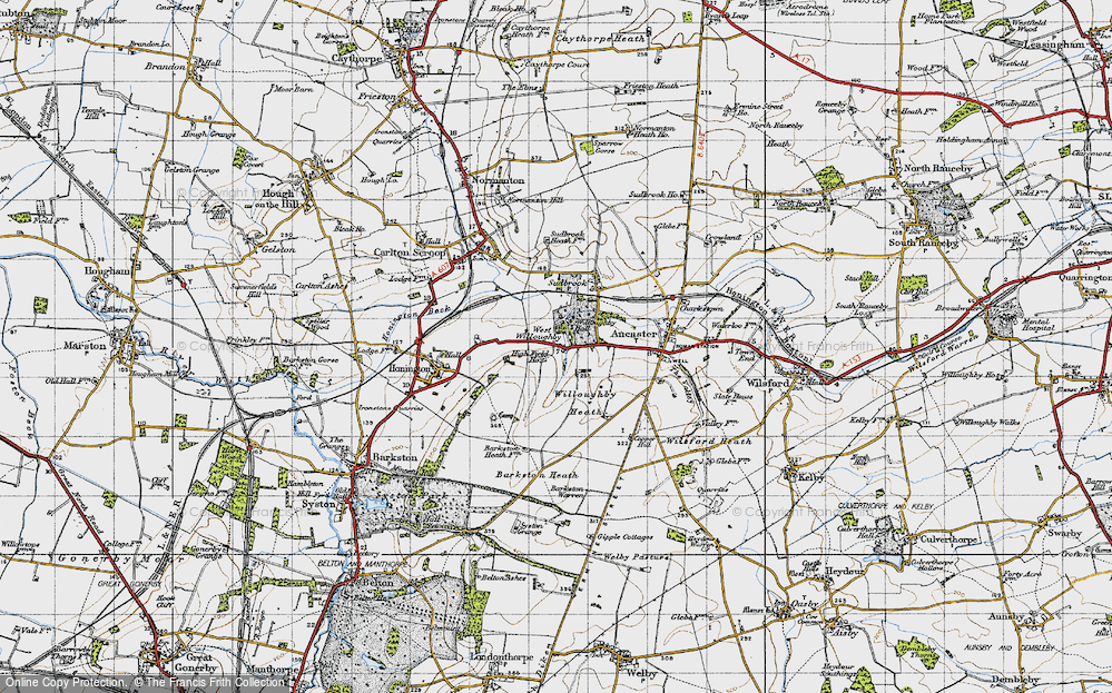 Old Map of Historic Map covering Willoughby Heath in 1946
